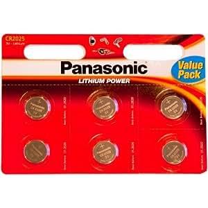 Panasonic CR2025 Lithium 3 Volt Battery card of 6