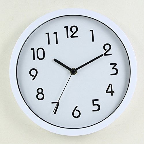 HITO™ Modern Colorful Silent Non-ticking Wall Clock- 10 Inches (White)