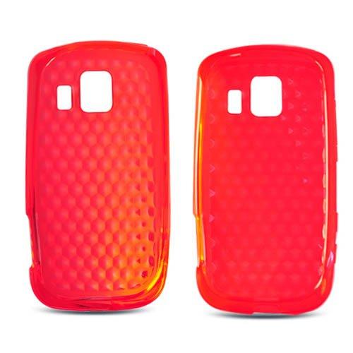 Lg Ls670, Ux670 Optimus S/U Soft Skin Case Transparent Hexagonal Pattern Red Tpu Skin At&T (Does Not Fit Lg P509 Optimus T)