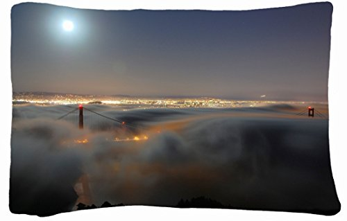 Microfiber Peach Queen Size Decorative Pillowcase -City Golden Gate Bridge Light Moon Images Fog Night San Francisco California Usa front-1027936