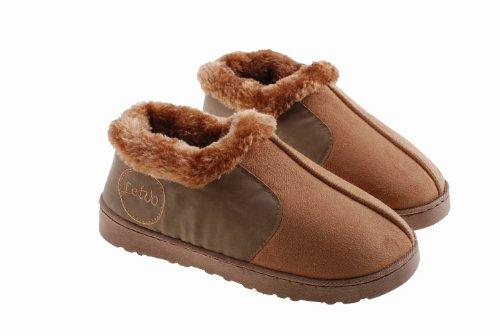 Pobofashion Warme, weiche Baumwollhausschuhe mit Seitennaht, Winterstiefel mit luxuriösem Schafsfell (EU36-37, Damen-kamelbraun)