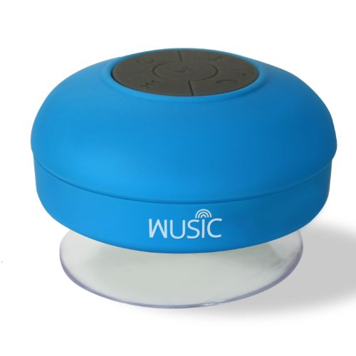 Wusic® Bluetooth Wireless Speaker, Waterproof And Portable For All Smartphones, Ipad, Apple Iphone, Android. Use As Speakerphone Or Jam In Shower, Blast In Car Or Boat. Outdoors Or Indoors. Latest Stylish Design With Silicone - Quality Guarantee (Blue)