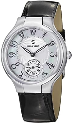 Philip Stein Signature Round Black Leather Strap Mother of Pearl Dial Watch 41-FMOP-ABS