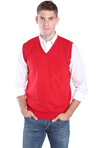 Men's 100% Cotton V-Neck Sweater Vest - Made in the USA - Red, X-Large (American Made Mens Sweaters compare prices)