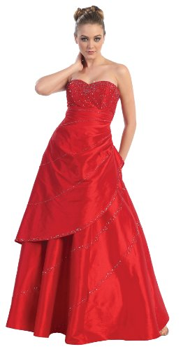 Strapless Taffeta Prom Formal Gown Long Dress Sizes 16-26 #2704 Cheap