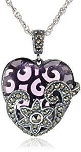 Sterling Silver, Oxidized Marcasite, and Amethyst Colored Glass Heart Pendant Necklace, 18""