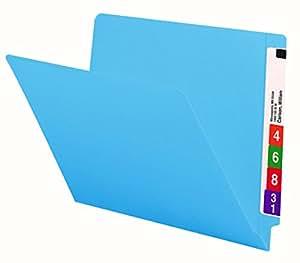 Smead Colored End Tab File Folder, Shelf-Master® Reinforced Straight-Cut Tab, Letter Size, Blue, 100 per Box (25010)
