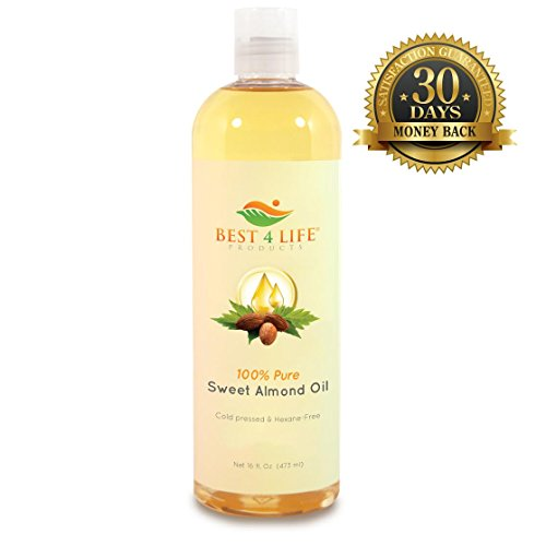 Best 4 Life Products 100% Pure Sweet Almond Oil 16 Oz - Natural Moisturizer-Cold Pressed-Great For Skin, Hair, And Cooking-Perfect For Use As Moisturizer For Face And Body-Healthy Benefits Include Source Of Natural Vitamin E And Carrier For Essential Oils
