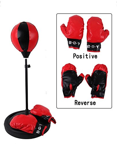 henmerry Bambini altezza regolabile Punching Bag Boxe con Guantoni da boxe Speed Bag Sport Giocattolo