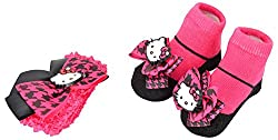 Baby Bucket baby flower knit strechable hairband socks gift box pink and black with kitty