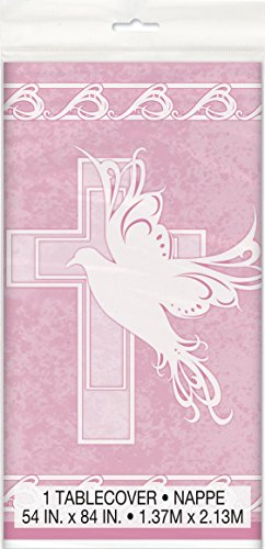 Baptism Party Supplies Table Cover Dove Cross Pink