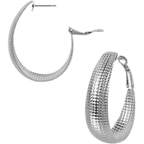 Inox Jewelry 316L Stainless Steel 40mm Textured Hoop Earrings