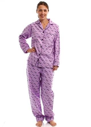 Noble Mount Womens Premium 100% Cotton Flannel Pajama Sleepwear Set - Fish Lilac - Large