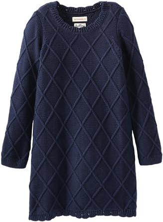 Hatley Little Girls' Kids Sweater Dress Cable Knit Navy, Blue, 3T