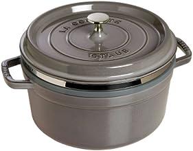 Staub Cocotte/Bräter rund mit Dämpfeinsatz (26 cm, 5,0 L, induktionsgeeignet, mit mattschwarzer Emaillierung im Inneren des Topfes) graphitgrau