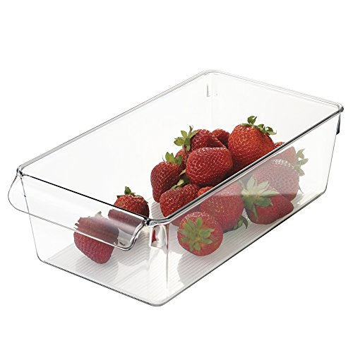 mDesign Storage Container for Mini Fridge, Kitchen, Refrigerator, Freezer, Pantry, Cabinets - Wide, Clear (Wide Mini Fridge compare prices)