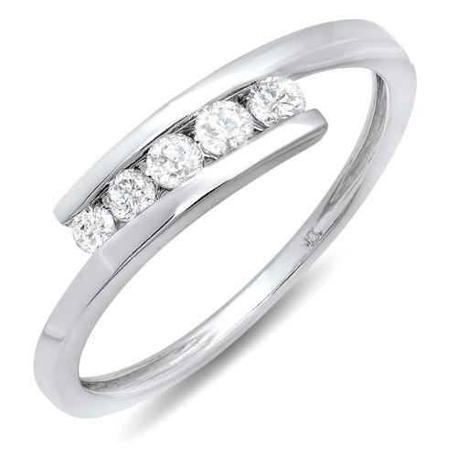 0.25 Carat (ctw) 10k White Gold Round White Diamond Ladies 5 Stone Bridal Promise Ring