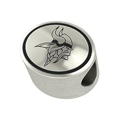 Minnesota Vikings Silver NFL Bead Fits Most European Style Charm Bracelets