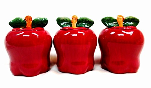 Tuscany Red Apple Ceramic, 3-Piece Canister Set, 6-1/4 87402 by ACK (Red Apple Cookie Jar compare prices)