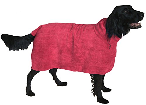 The Snuggly Dog is the Easy Slip on Moisture Absorbing Microfiber Dog Bath Towel They Wear. Limited Time Sale! The Absorbent Plush Spa Pet Towel is a Bathrobe. This Dog Apparel is a soft Fast Drying Grooming Bathing Accessory-a must in Pet Supplies. (Small, Pink)