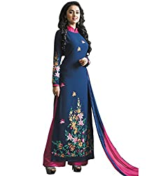 Look N Buy women's Latest Blue and Pink Coloured Embroidered Semi-Stitched Georgette Salwar Suit With Dupatta