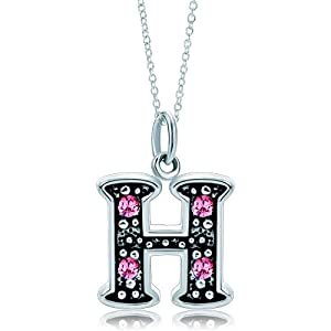 Pugster Silver Rose Pink Crystal Diamond Accent Letter I Link Charm Charms Bracelet & Pendant Necklace