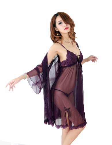 ROSEMANDY Sexy Sheer Lingerie Set Sleepwear Dress with G-string