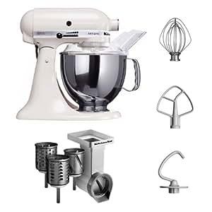 """Kitchenaid KSM150PSEWH + MVSA + EMVSC Kitchenaid 5KSM150PSEWH Küchenmaschine Serie """"Artisan"""" plus Zubehör mit 3 Trommeln, weiß"""