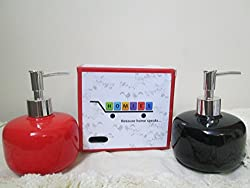 1 Piece HOMIES Brand (Registered),High Grade Designer Nozzle design Ceramic One touch Liquid lotion hand Soap Dispenser and sanitiser. Elegant and Beautiful. Refillable. Avoid wastage by dispensing liquid soap in an appropriate quantity. Used for domestic and commercial purposes.(Color- BLACK)