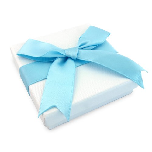 Beautiful Tiffany Style Gift box, with turquoise silk ribbon. Gift Box measures 7.5cm x 7.5cm x 2.2cm. Suitable for necklaces, earrings and bracelets. Includes optional hook for shop use or on the xmas tree
