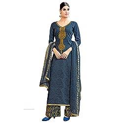Bhelpuri Women Grey Cotton Printed Dress Material