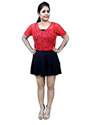 CrazeVilla women black color short skirt