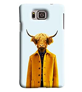 Blue Throat Man With Cow Face Printed Designer Back Cover/Case For Samsung Galaxy Alpha