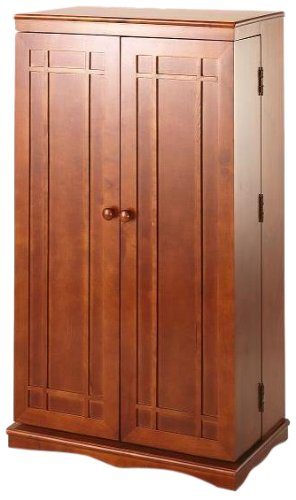 Leslie Dame CD-612W Solid Oak Multimedia Storage Cabinet with Classic Mission Style Doors, Walnut (Multimedia Storage Cabinet compare prices)