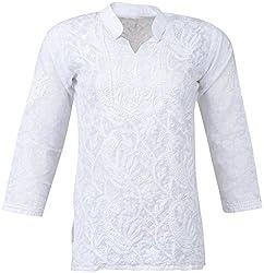 ALMAS Lucknow Chikan Women's Cotton Regular Fit Kurti (White)