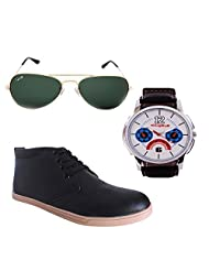 Elligator Stylish Black Shoes & Watch With Elligator Sunglass For Men's