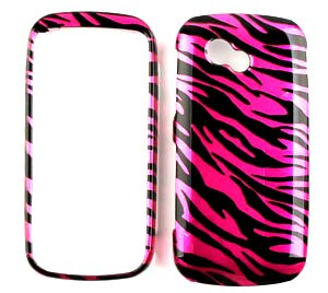 Hot Pink Zebra Strips Snap on Hard Protective Cover Case for Lg Neon 2 Gw370