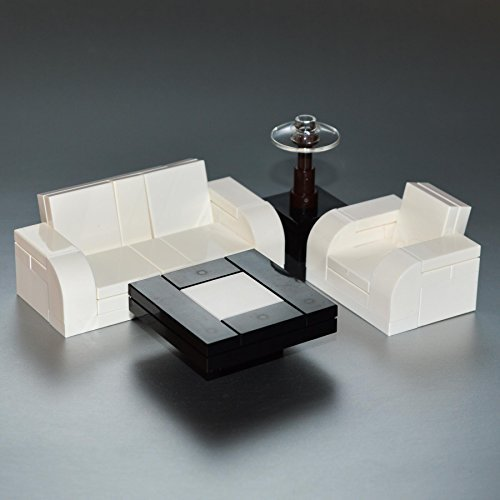 LEGO Furniture: Seating Set (White) w/ Couch, Chair & Tables & Lamp