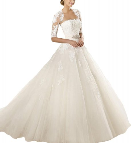 GEORGE BRIDE Strapless Tulle A-Line Ball Gown With Rebrode Lace And Applications And Ribbon Size 14 Ivory