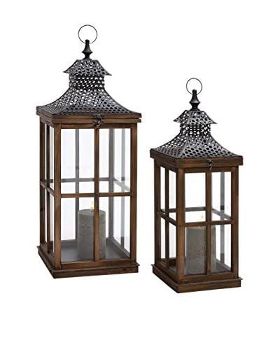 Set of 2 Wood, Metal & Glass Lanterns