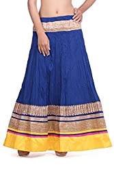 Cotton blue skirt with gotta and yellow border