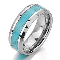JBlue Jewelry Men,Women's Tungsten Ring Band Turquoise Silver Blue Comfort Fit Wedding Charm Elegant (with Gift Bag) from JBlue Jewelry