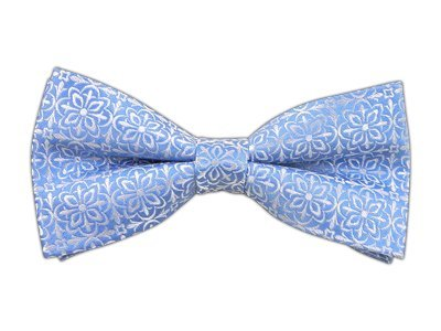 100% Silk Woven Light Blue Opulent Geometric Patterned Self-Tie Bow Tie