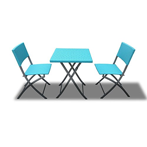Bimini Outdoor Patio Foldable Dining Bistro Set in Blue Wicker photo