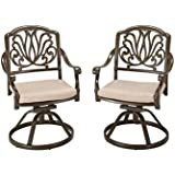 Home Styles 5559-53 Floral Blossom Taupe Swivel Chair