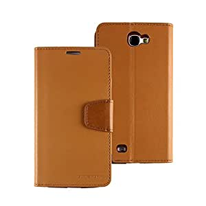 Mercury Sonata Diary Leather Wallet Case Cover for Samsung Galaxy Note 2 - Camel
