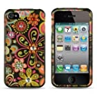 Spot Diamond Rhinestone Green Daisy Flower on Black Design Snap-On Protector Hard Cover Case Compatible for Apple Iphone 4 / 4S (AT&T