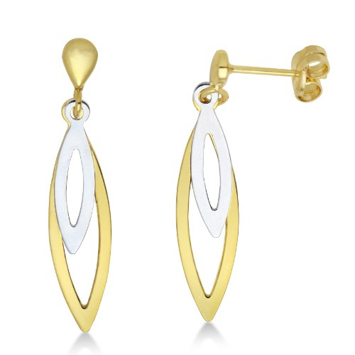 Gold Earrings, 9ct two-colour Gold Drops, by Miore, MA926E