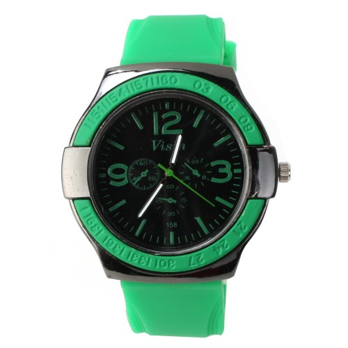 Yesurprise Fashion Dark Blue Silicone Rubber Band Men'S Unisex Quartz Jelly Wrist Watch Green