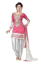 Clickedia Women's Silk Dress Material (Pink White Silk Patiala_Pink White)